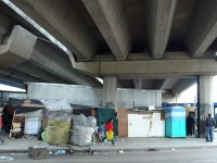 Homes under the freeway